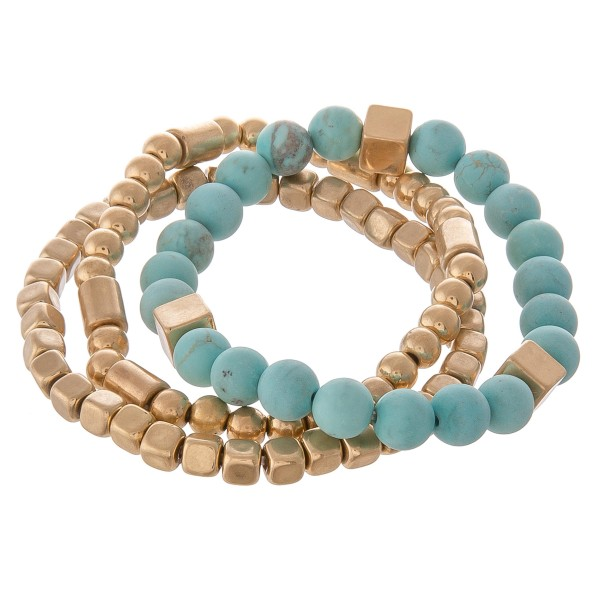 "Semi precious gold beaded stretch bracelet set.  - 3pcs/pack - Approximately 3"" in diameter unstretched - Fits up to a 7"" wrist"