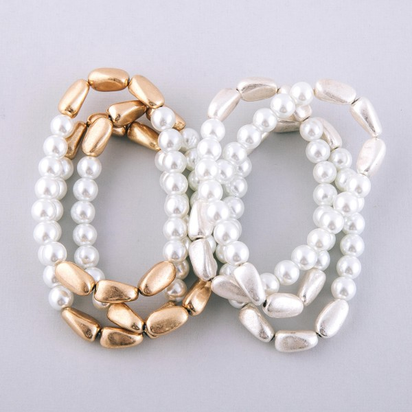 """Pearl beaded modern twist stretch bracelet set.  - 3pcs/pack - Approximately 3"""" in diameter unstretched - Fits up to a 7"""" wrist"""
