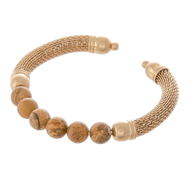 "Semi Precious Natural Stone Beaded Metal Mesh Stretch Cuff Bracelet.  - Approximately 2.75"" in diameter  - Fits up to a 6"" wrist"
