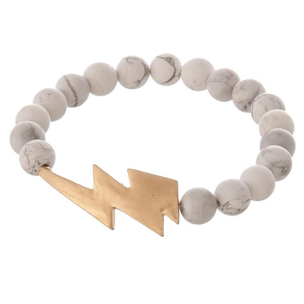"Semi Precious Natural Stone Beaded Lightning Bolt Stretch Bracelet.  - Focal 1.5"" - Approximately 3"" in diameter unstretched - Fits up to a 7"" wrist"