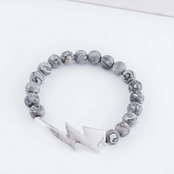 """Semi precious beaded lightning bolt stretch bracelet.  - Approximately 3"""" in diameter unstretched - Fits up to a 7"""" wrist"""