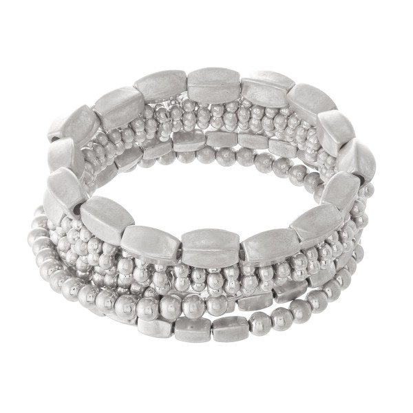 "Multi Beaded Metal Tone Stacking Wrap Bracelet.  - Approximately 2"" in diameter - Fits up to a 7"" wrist"