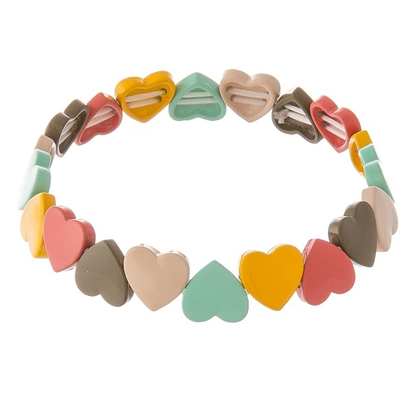 """Shiny enamel coated heart stretch bracelet.  - Approximately 3"""" in diameter unstretched - Fits up to a 7"""" wrist"""