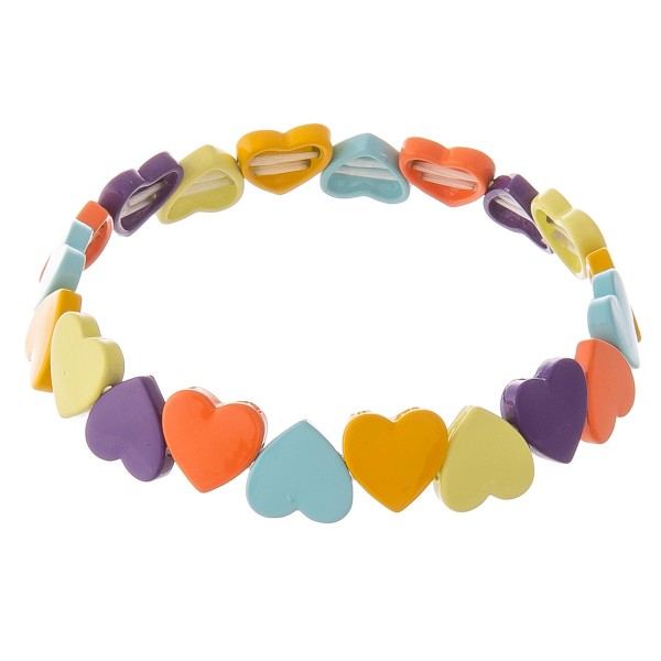 "Shiny enamel coated heart stretch bracelet.  - Approximately 3"" in diameter unstretched - Fits up to a 7"" wrist"