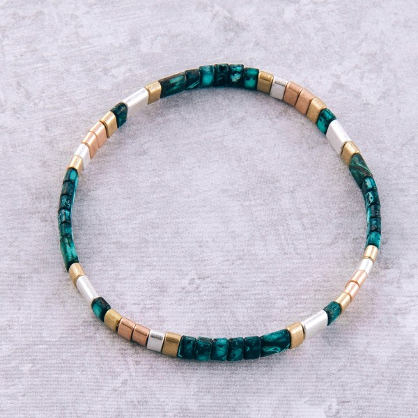 "Patina Multi Miyuki Tila Bead Stretch Bracelet.  - Approximately 3"" in diameter unstretched - Fits up to a 7"" wrist"