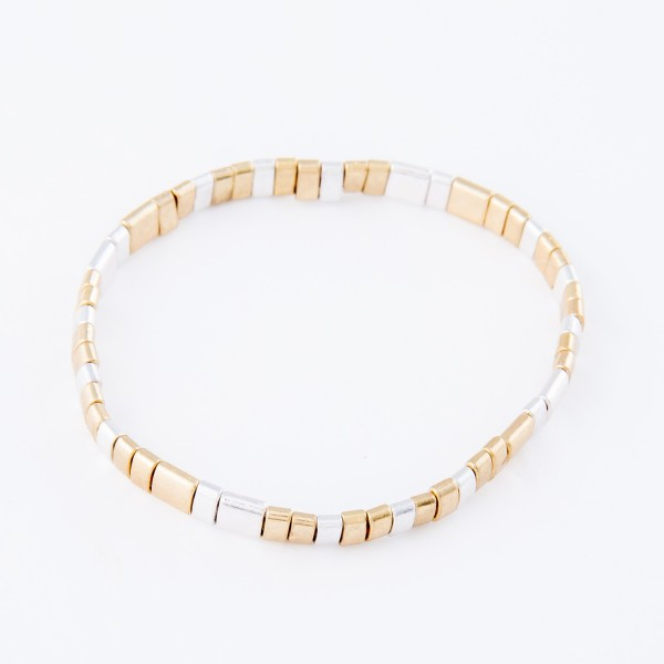 "Two Tone Miyuki Tila Bead Stretch Bracelet in Worn Gold and Silver.  - Approximately 3"" in diameter unstretched - Fits up to a 7"" wrist"