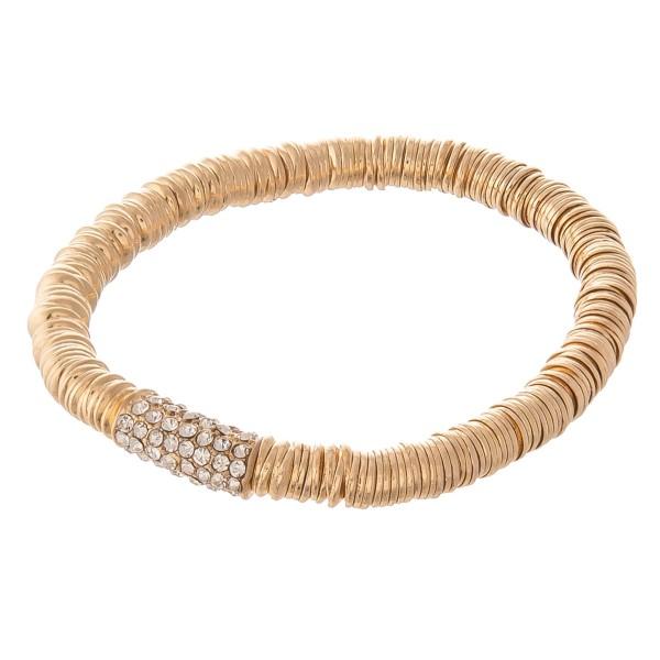 Wholesale rhinestone metal spacer disc beaded stretch bracelet diameter unstretc