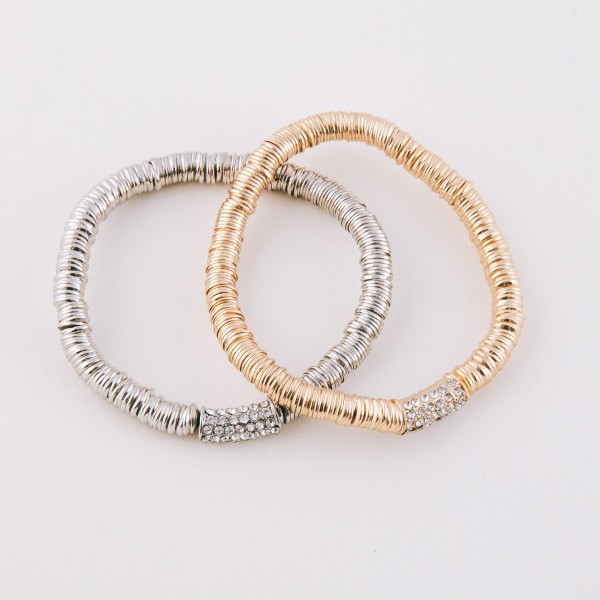 """Rhinestone metal spacer disc beaded stretch bracelet.  - Approximately 3"""" in diameter unstretched - Fits up to a 7"""" wrist"""