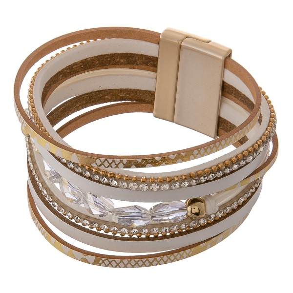 """Multi strand faux leather metallic snakeskin beaded rhinestone magnetic bracelet.  - Magnetic closure - Approximately 3"""" in diameter - Fits up to a 6"""" wrist - Approximately 1"""" wide"""