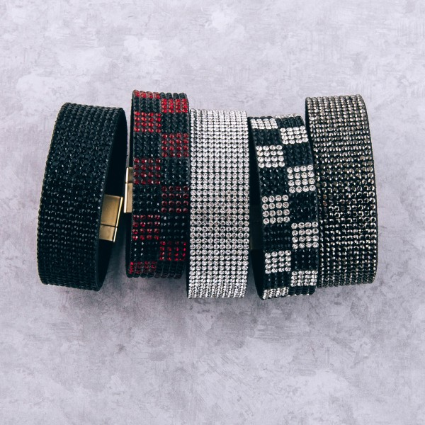 """Faux leather rhinestone magnetic bracelet.  - Magnetic closure - Approximately 3"""" in diameter - Fits up to a 6"""" wrist - Approximately 1"""" wide"""