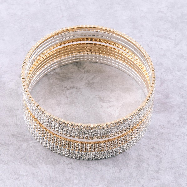 """Rhinestone bangle bracelet.  - Double strand - Approximately 3"""" in diameter - Fits up to a 6"""" wrist"""