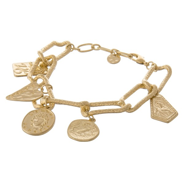 "Chunky Gold hera link coin charm bracelet.  - Lobster clasp - Adjustable 1"" extender - Approximately 3"" in diameter - Fits up to an 8"" wrist"