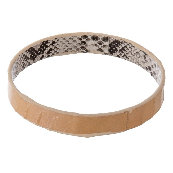"Double sided Genuine Leather snakeskin bangle bracelet.  - Approximately 3"" in diameter - Fits up to a 6"" wrist"