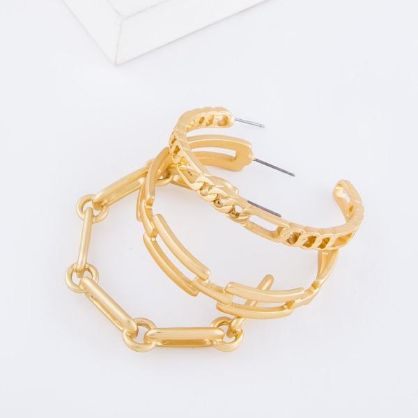 """Oblong Chain Link Hoop Earrings in Matte Gold.  - Approximately 2"""" in diameter"""
