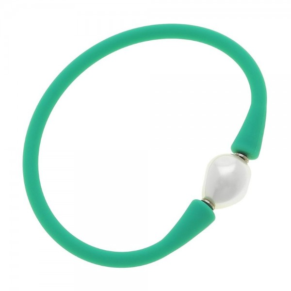"Silicone Flex Pearl Stretch Bracelet.  - Flexible silicone band that rolls on & off over your hand - White baroque-shaped acrylic pearl - 3"" Diameter"
