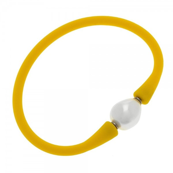 """Silicone Flex Pearl Stretch Bracelet.  - Flexible silicone band that rolls on & off over your hand - White baroque-shaped acrylic pearl - 3"""" Diameter"""