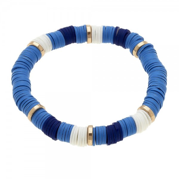 Wholesale polymer Clay spacer disc beaded color block stretch bracelet diameter