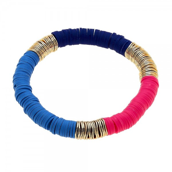 "Polymer Clay Spacer Beaded Colorblock Stretch Bracelet in Gold.  - Polymer clay discs & worn gold plated beads - Approximately 3"" in Diameter - Stretch - 1 size fits most"