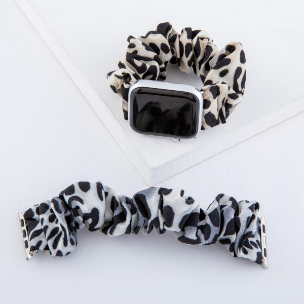 "Interchangeable Leopard Print Srunchie Smart Watch Band for Smart Watches.  -  - Fits 38mm watch face - Approximately 3"" in diameter - Fits up to a 9"" wrist"