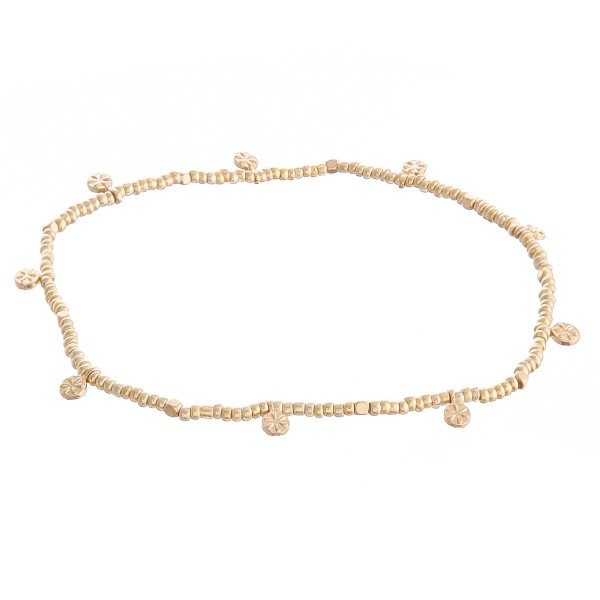 """Seed Beaded Stretch Anklet Featuring Gold Flower Accents.  - Approximately 4"""" in diameter - Fits up to an 8"""" ankle"""