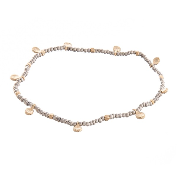 "Two Tone Seed Beaded Stretch Anklet Featuring Gold Flower Accents.  - Approximately 4"" in diameter - Fits up to an 8"" ankle"