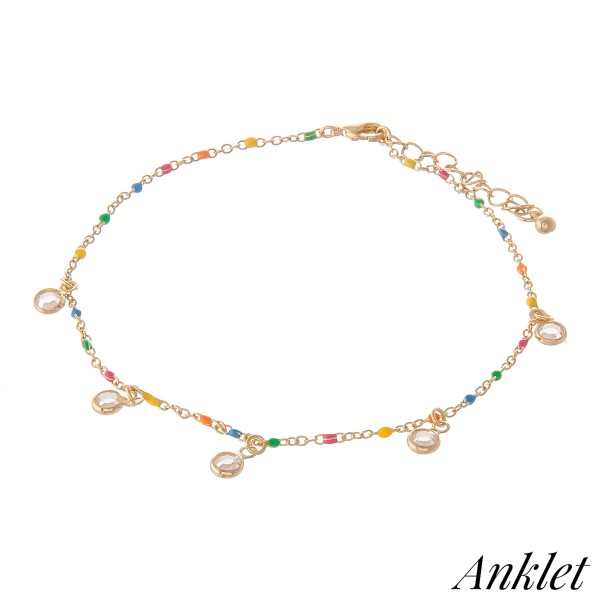 """Clear Gemstone Drip Anklet with Enamel Coating Speckled Details.   - Approximately 4"""" in diameter - Fits up to an 8"""" ankle - 1.5"""" Adjustable Extender"""