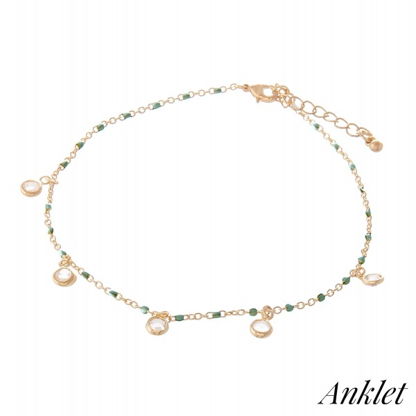 "Clear Gemstone Drip Anklet with Enamel Coating Speckled Details.   - Approximately 4"" in diameter - Fits up to an 8"" ankle - 1.5"" Adjustable Extender"