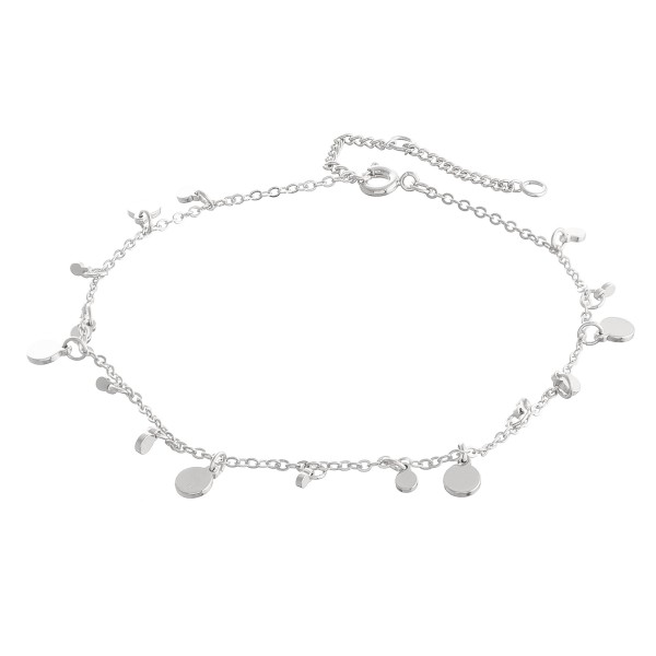 """Dangle Disc Chain Anklet.  - Approximately 4"""" in Diameter - Fits up to an 8"""" wrist - 2"""" Adjustable Extender"""