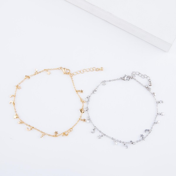 """Moon & Stars Drip Chain Anklet.  - Approximately 4"""" in diameter - Fits up to an 8"""" ankle - 1.5"""" Adjustable Extender"""