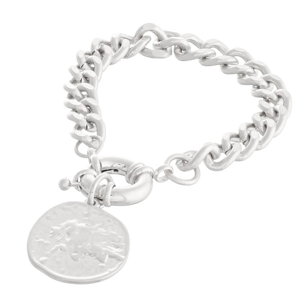 "Curb Chain Link Coin Bracelet in Worn Silver.  - Coin Charm 1""  - Approximately 3"" in diameter - Fits up to a 6"" wrist"