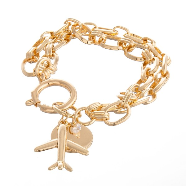 "Chain Link Layered Airplane Charm Bracelet.  - Charm approximately 1"" - Approximately 3"" in diameter - Fits up to a 6"" wrist"