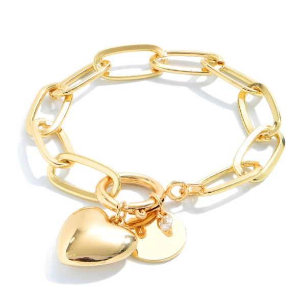 "Chain Link Heart Charm Bracelet.  - Heart Charm .75""  - Charm For Engraving  - Approximately 3"" in Diameter"