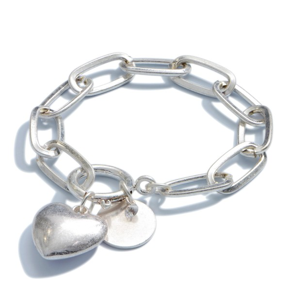 "Chain Link Heart Charm Bracelet in a Worn Finish.  - Heart Charm .75""  - Charm For Engraving  - Approximately 3"" in Diameter"