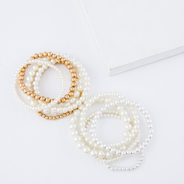 "Pearl Beaded Stackable Stretch Bracelet Set in Worn Gold.  - 5pcs/set - Approximately 3"" in diameter - Fits up to a 7"" wrist"