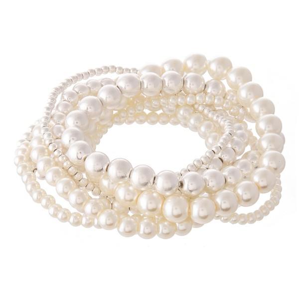 "Pearl Beaded Stackable Stretch Bracelet Set in Worn Silver.  - 8pcs/set - Approximately 3"" in diameter - Fits up to a 7"" wrist"