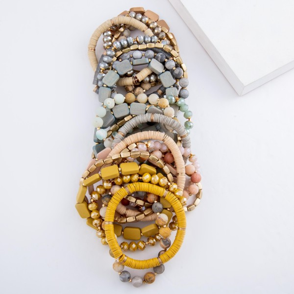 "Semi Precious Block Beaded Stackable Stretch Bracelet Set.  - 5pcs/set - Approximately 3"" in diameter - Fits up to a 7"" wrist"
