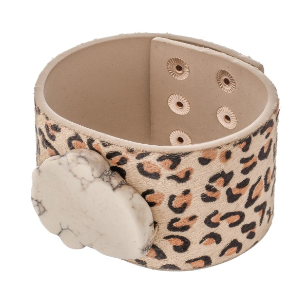 "Faux Leather Leopard Print Natural Stone Statement Bracelet.  - Adjustable Snap Button Closure - Approximately 3"" in diameter - Fits up to a 7"" wrist"