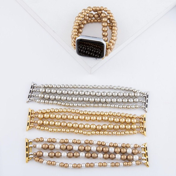 """Interchangeable Ball Beaded Multi Strand Stretch Smart Watch Bracelet In Worn Gold.  - 5mm and 7mm Bead Size - Approximately 3"""" in diameter unstretched - Fits up to a 7"""" wrist"""