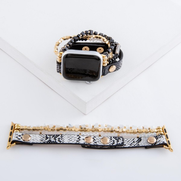 "Interchangeable Adjustable Stretch Semi Precious Beaded Snakeskin Smart Watch Bracelet.  - Stretchy - Adjustable snap button closure (leather strand) - Fits 38-40mm watch face - Approximately 3"" in diameter - Fits up to a 7"" wrist"