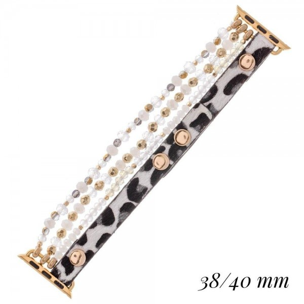 "Interchangeable Leopard Print Beaded Smart Watch Bracelet.  - Fits 38-40mm Watch Face - Multi-Strand - Adjustable Faux Leather Band - Approximately 3"" in diameter - Fits up to a 7"" wrist"