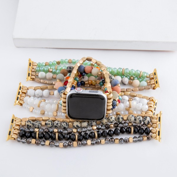 """Interchangeable semi precious beaded smart watch stretch bracelet.  - Fits 38-40mm watch face - Approximately 3"""" in diameter unstretched - Fits up to a 7"""" wrist"""