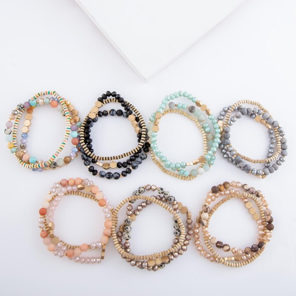 """Semi Precious Natural Stone Beaded Stretch Bracelet Set.  - 3pcs/set - Approximately 3"""" in diameter - Fits up to a 7"""" wrist"""