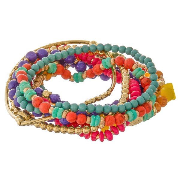 "Multi semi precious tube beaded boho stack stretch bracelet set.  - 9pcs/set - Approximately 3"" in diameter unstretched - Fits up to a 7"" wrist"