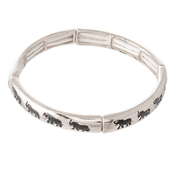 "Antique Silver Elephant Stretch Bangle Bracelet.  - Approximately 3"" in diameter - Fits up to a 7"" wrist"