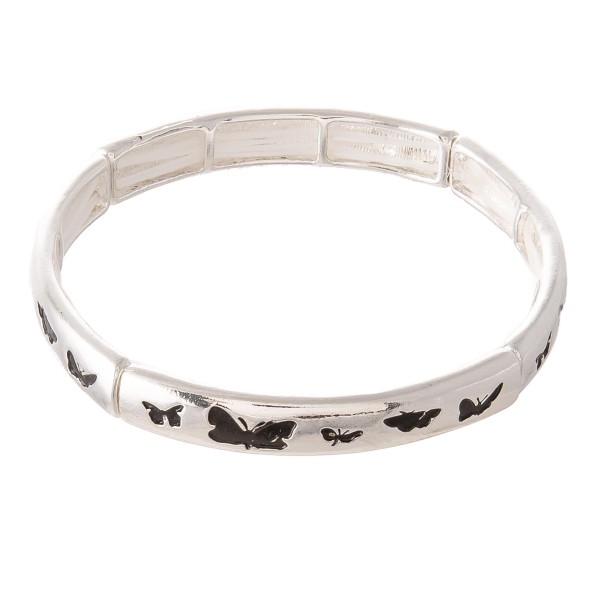 "Antique Silver Butterfly Stretch Bangle Bracelet.  - Approximately 3"" in diameter - Fits up to a 7"" wrist"