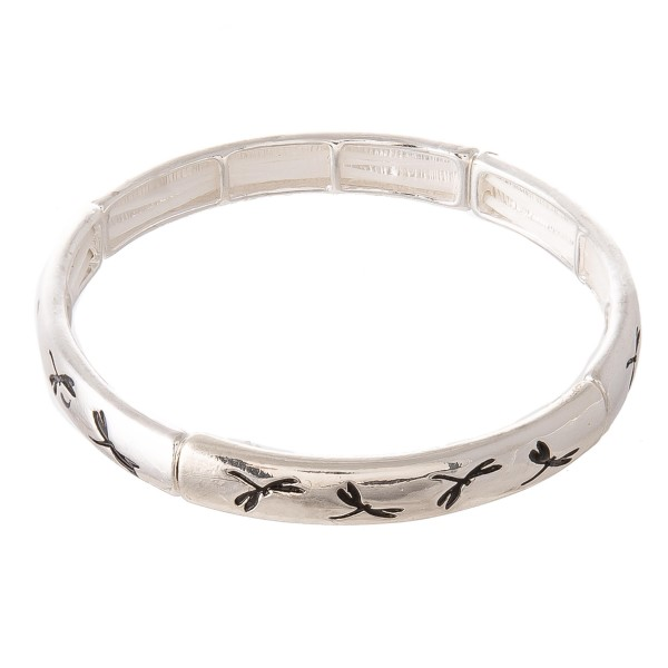 "Antique Silver Dragonfly Stretch Bangle Bracelet.  - Approximately 3"" in diameter - Fits up to a 7"" wrist"