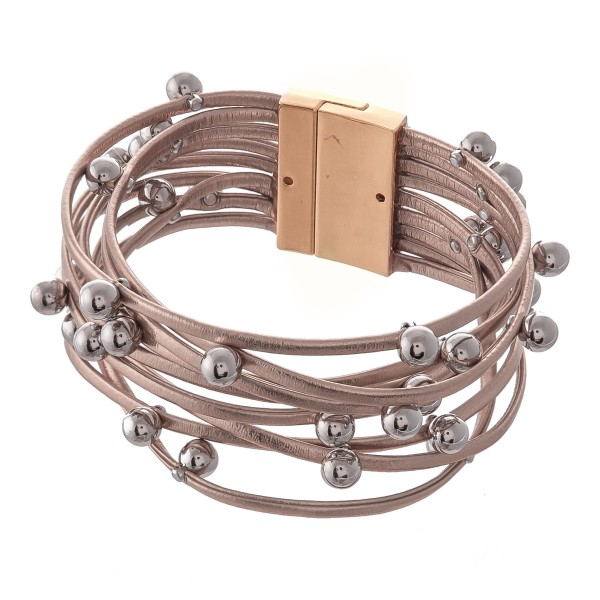 "Faux Leather Multi-Strand Magnetic Bracelet Featuring Ball Bead Details.  - Magnetic Closure - Approximately 3"" in Diameter - Fits up to a 6"" Wrist"