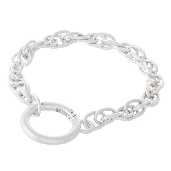 "Layered Chain Linked Bracelet with Hinge Ring Closure Detail.  - Approximately 3.5"" in diameter - Fits up to a 7.5"" wrist"