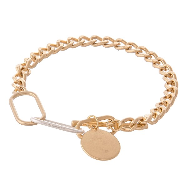 "Curb Chain Link Toggle Bar Bracelet Featuring Gold Charm.  - Approximately 3.5"" in diameter - Fits up to a 7.5"" wrist"