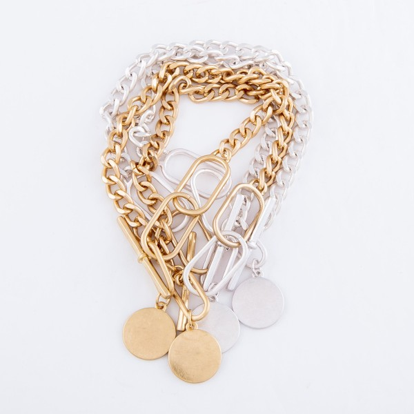 """Curb Chain Link Toggle Bar Bracelet Featuring Silver Charm.  - Approximately 3.5"""" in diameter - Fits up to a 7.5"""" wrist"""